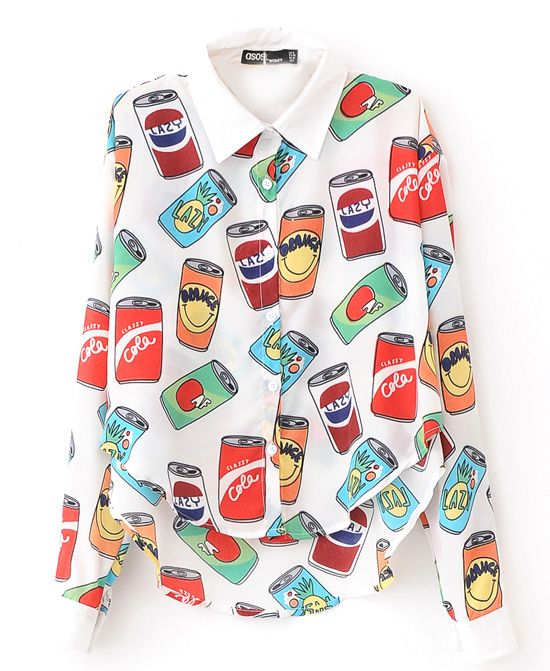 Beverage Cans Print Chiffon Blouse