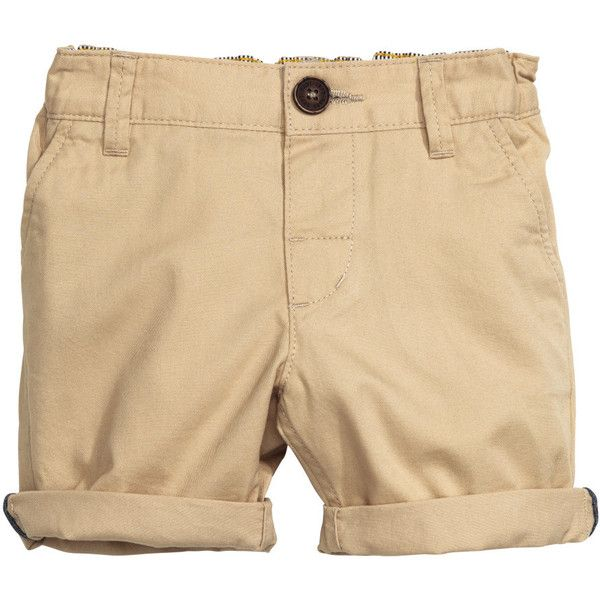 Cotton twill shorts $12.95 ($13) ❤ liked on Polyvore featuring shorts, h&m shorts, cotton twill shorts, beige shorts, faux-leather shorts and button fly shorts