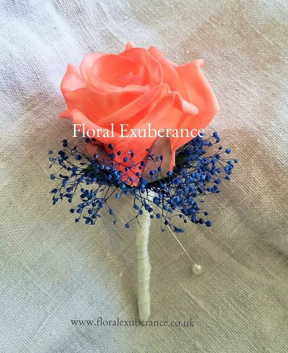 Coral,Blue,Navy Silk Rose Buttonhole/Boutonniere silk wedding flowers, Groom, Bestman, Groomsmen, Ring bearer