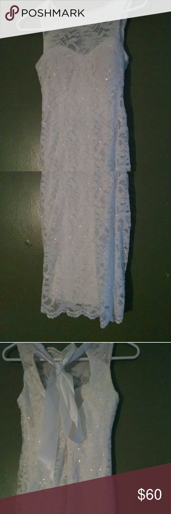 White sparkly lace body con dress Worn once for graduation ceremony. No wear. Size 3/4 Morgan & Co. Dresses Mini