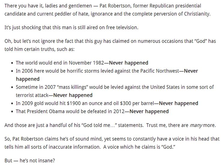 "God's Political Party and the clergy: Pat Robertson, former Republican presidential candidate.  Thomas Jefferson:  ""In every country and in every age, the priest has been hostile to liberty..."" .. ""The clergy...do in fact constitute the real anti-Christ.""     > > > Click image!"