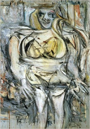 """Abstract Expressionism is a type of art that developed at the time. Though paintings all classified as abstract expressionist vary in style, the genre typically features abstract, emotional, and spontaneous acts. """"Woman III,"""" the work above is a 1953 painting by Willem de Kooning, an abstract expressionist. Other famous abstract expressionist painters include Jackson Pollock, Barnett Newman, Mark Rothko, and Franz Kline."""