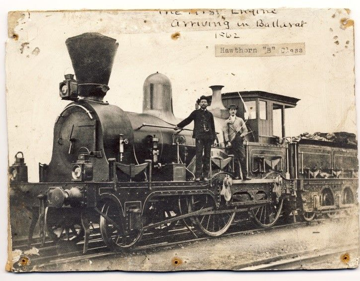 """The steam train arrives in Ballarat! (1862) Australian steam trains can be identified by their strange conical chimneys, called """"spark arrestors"""", which stop the trains from starting bush fires. Ballarat Historical Society"""