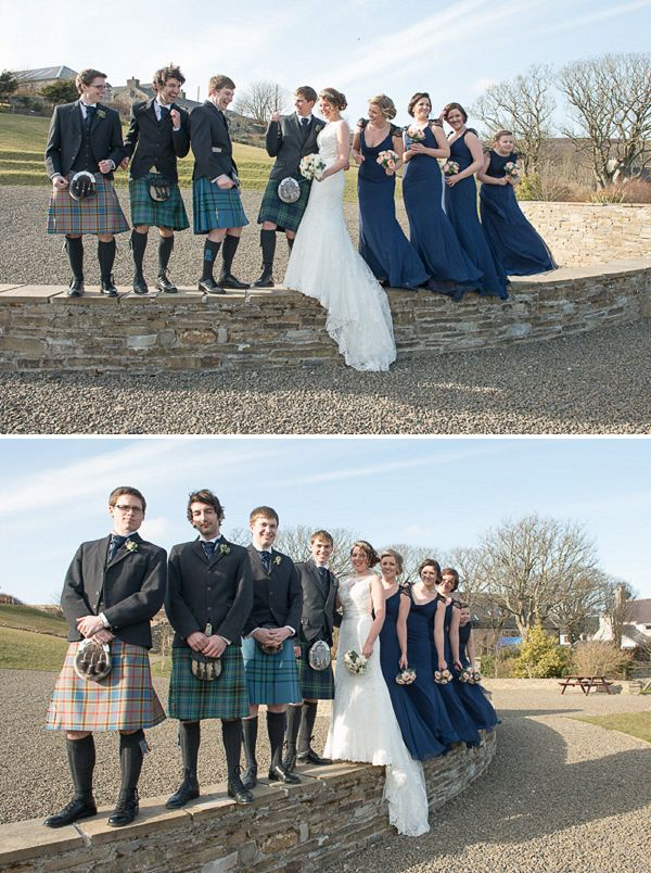 Found your groomsmen outfits. navy bridesmaids groomsmen kilts