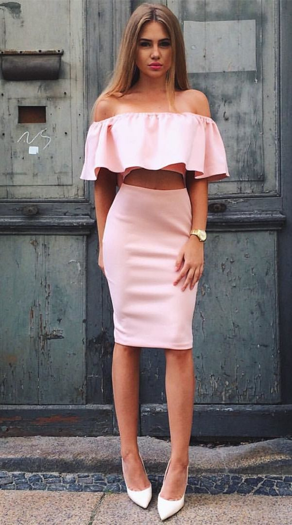 1935397549e3 Two Piece Off-the-Shoulder Knee-Length Pink Homecoming Dress with ...