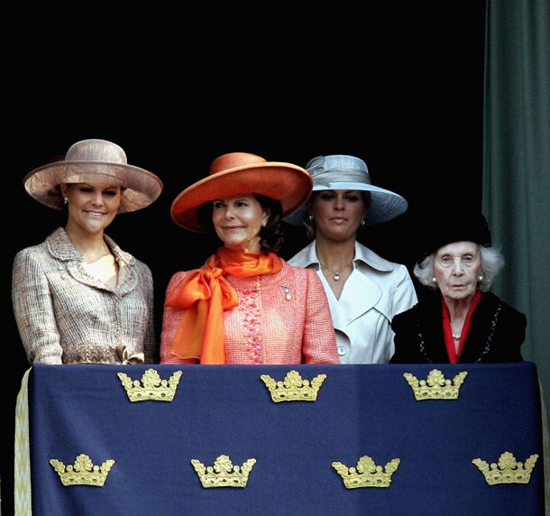 Princees Lilian (far right) with Swedish Crown Princess Victoria, Queen Silvia and Princess Madeleine during King Carl Gustaf's 60th birthday celebrations at the Stockholm Palace.