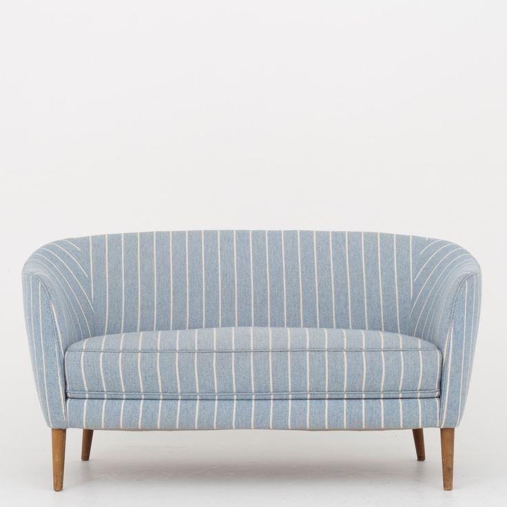 2-seater sofa in striped wool