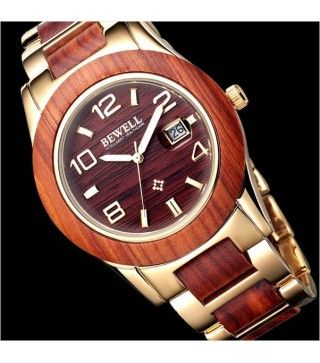 Unisex Red Sandalwood/Alloy Watch