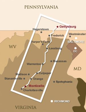 A 180-mile long drive from Gettysburg, Pennsylvania, to Thomas Jefferson's Monticello in Charlottesville, Virginia.
