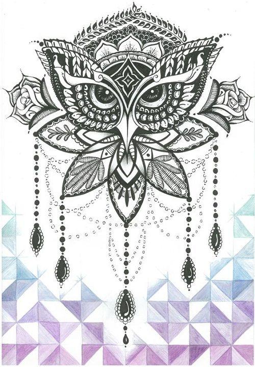 ornate-black-owl-tattoo.jpg (500×719)