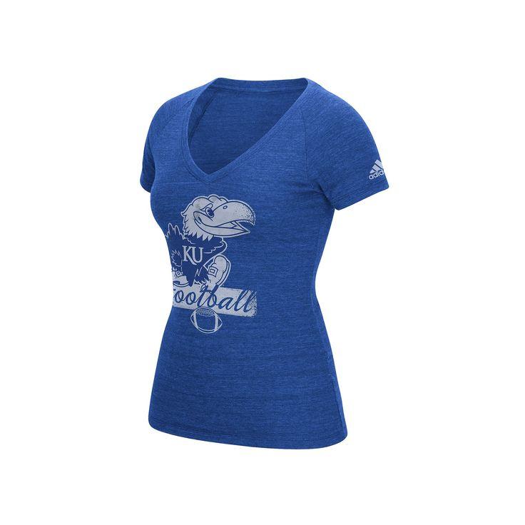 Women's Adidas Kansas Jayhawks Football Tee, Size: Medium, Blue