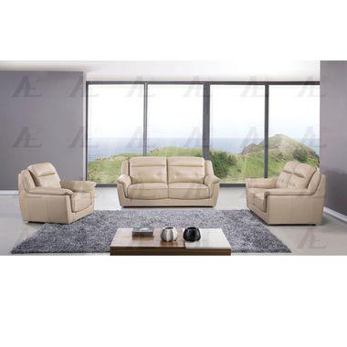 3 Pcs Plush Back Cushion Top Grain Tan Italian Leather Sofa Set