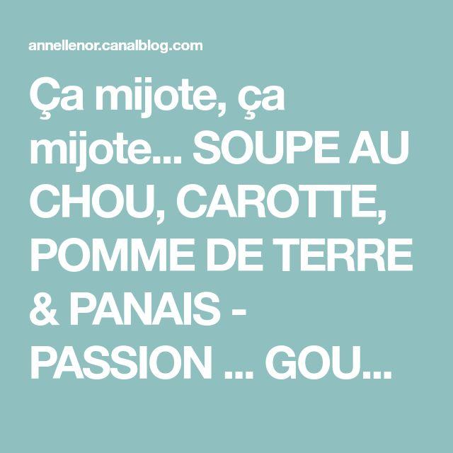 Ça mijote, ça mijote... SOUPE AU CHOU, CAROTTE, POMME DE TERRE & PANAIS - PASSION ... GOURMANDISE !