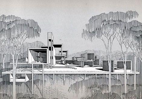 Callahan Residence, Birmingham, Alabama 1965 - Rendering by Paul Rudolph