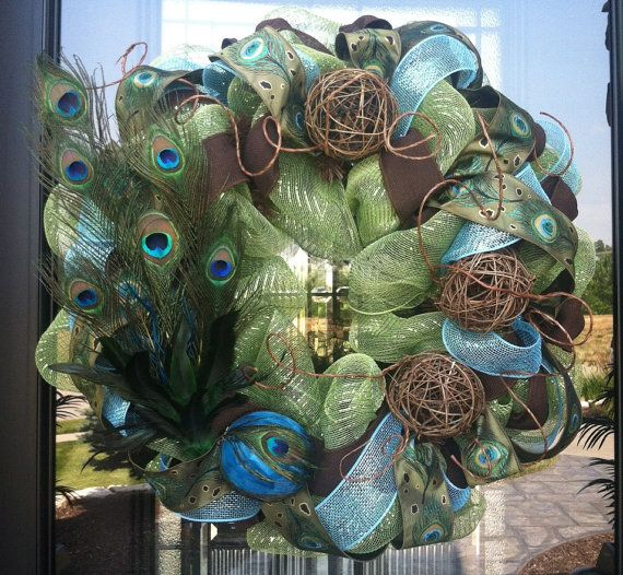 Peacock Feather and Twig Deco Mesh Wreath by DzinerDoorz, Fancy!Peacock Feathers, Decomesh, Crafts Ideas, Twig Deco, Wreaths Ideas, Deco Mesh Wreaths, Peacocks Wreaths, Christmas Trees, Peacocks Feathers