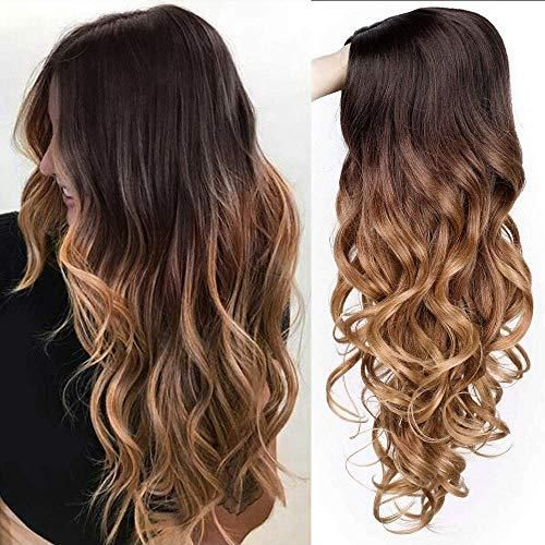 """AISI QUEENS Long Wavy Wigs for Women Long Curly Wig Synthetic Party Wigs Middle Part Full Wigs Natural Looking The Most Realistic Fiber: AISI QUEENS wig is made of the best and most realistic synthetic heat-resistant fibers. This high-quality material can not only be used for a long time, it is very close to the real hair, and it can make the wig's curly hair shape last longer and look better. Adjustable Cap Size: This is a medium cap (Average Cap Size) with adjustable straps of 21""""-22.5""""… Brunette Hair Color With Highlights, Hair Color Streaks, Long Wavy Hair, Long Curly, Long Ombre Hair, Curly Hair Styles, Natural Hair Styles, Ombre Wigs, Luxury Hair"""
