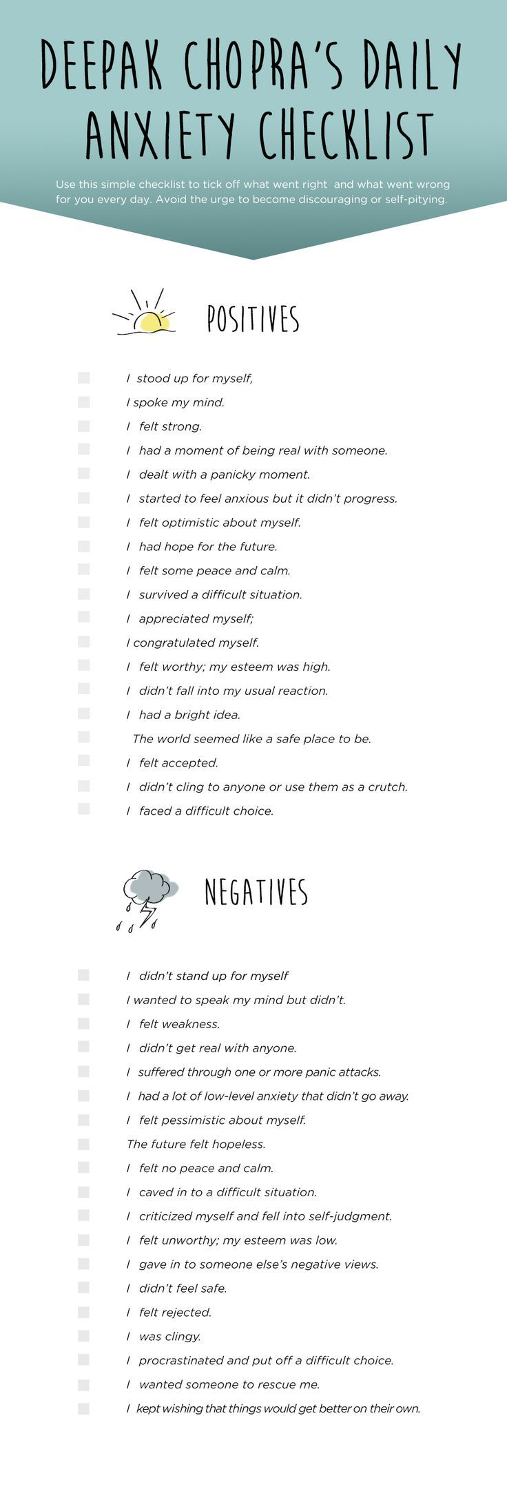 Pin it deepak chopra 39 s daily checklist to end anxiety for Minimalist living checklist
