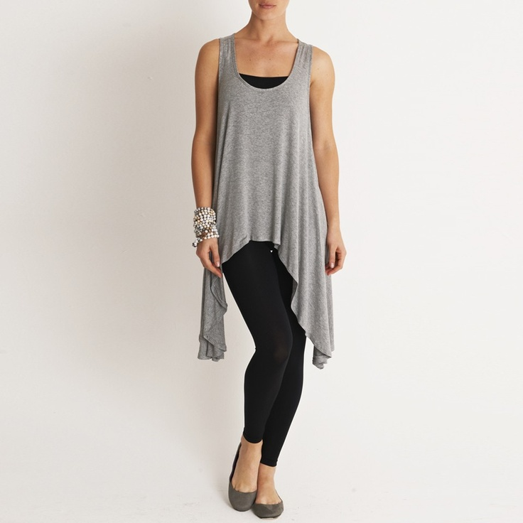 Sleeveless waterfall vest by MICHELLE LUDEK. Hide your hips with this one.
