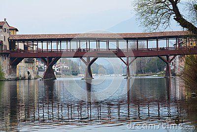 Ponte degli Alpini and the Brenta river in the old town of Bassano del Grappa, Veneto, Italy.