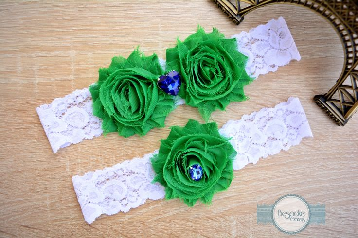 Flower Wedding Garter Set, Handmade with White Lace & Crystal Blue Rhinestone - by BespokeGarters by BespokeGarters on Etsy