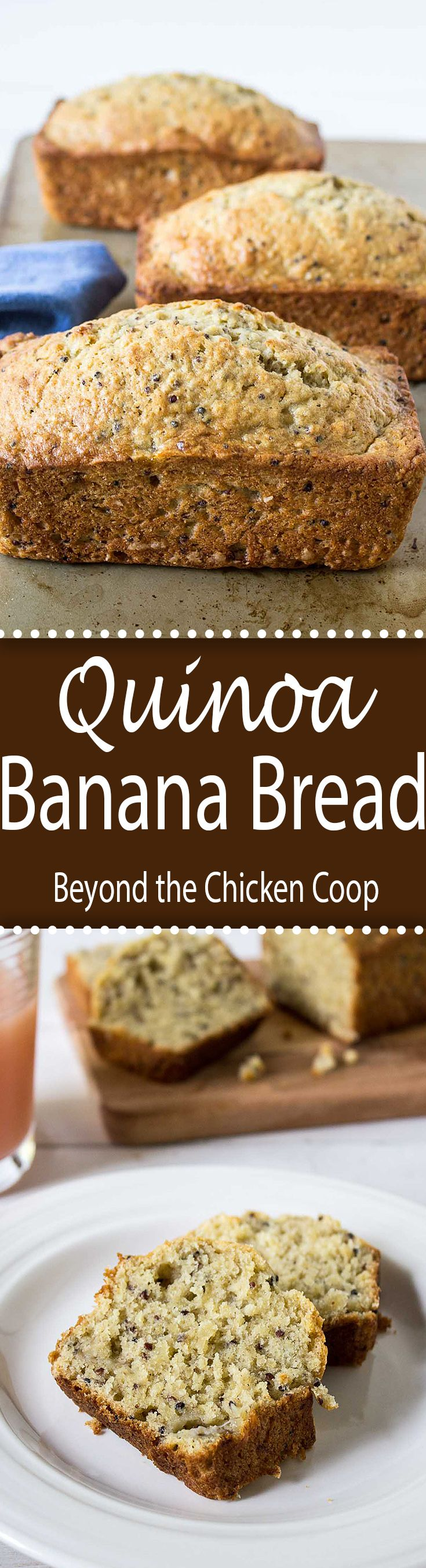 Traditional banana bread with quinoa added for extra protein.