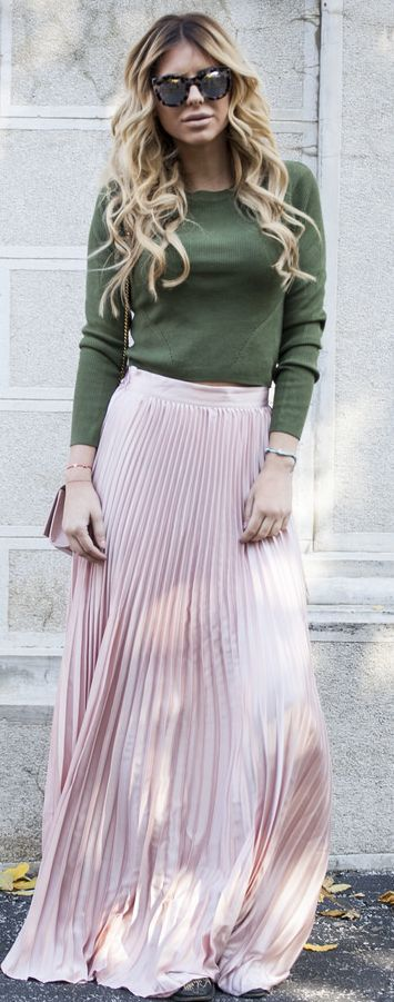 Pink Pleated Maxi Skirt Fall Street Style Inspo by Zorannah.