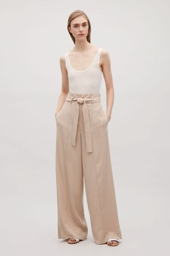 COS image 1 of Belted high-waist trousers in Khaki Beige
