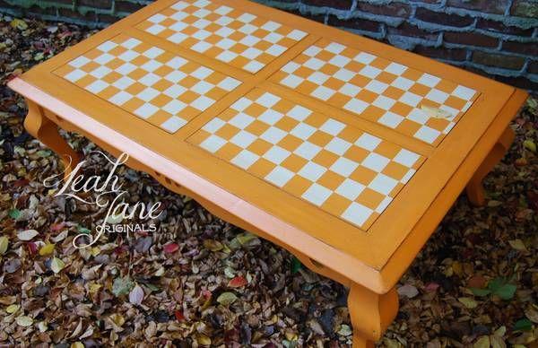 Distressed UT Vols checkerboard coffee table for Matt's man room.