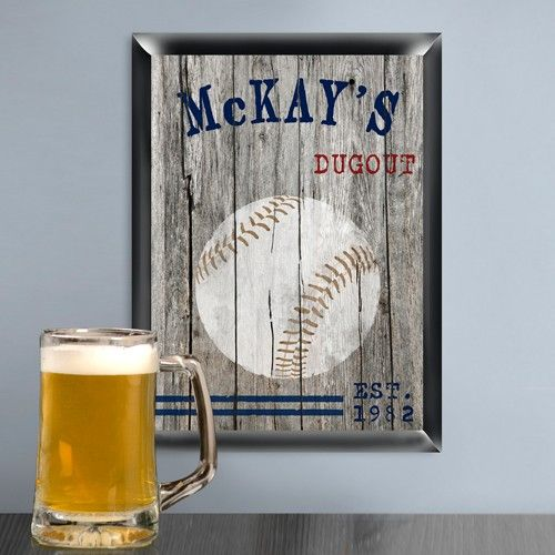 ersonalized Traditional Sports Baseball Man Cave Pub Sign
