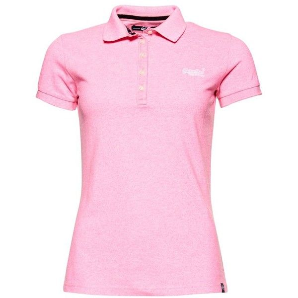 Superdry Classic Polo Shirt (2.530 RUB) ❤ liked on Polyvore featuring tops, women tops, superdry tops, embroidered polo shirts, superdry, slim polo shirts and slimming tops