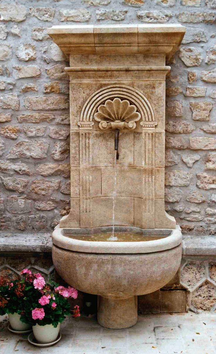 Outdoor wall decor sussex wall fountain - Hand Carved French Limestone Fountain This Fontaine Grande Coquille French Limestone Fountain Is An Ellegant Part