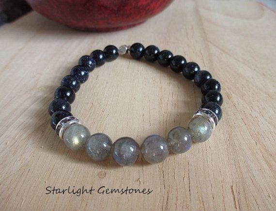 Unisex Labradorite & Blue Goldstone Gemstone Bracelet with Dark Grey Rhinestone Spacers and Hexagonal Antique Silver Spacer