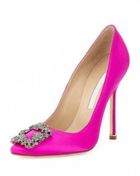 9f4ed89e5c3e0 Manolo Blahnik Hangisi Satin Crystal-Toe Pump, Hot Pink $965.00 # ManoloBlahnik