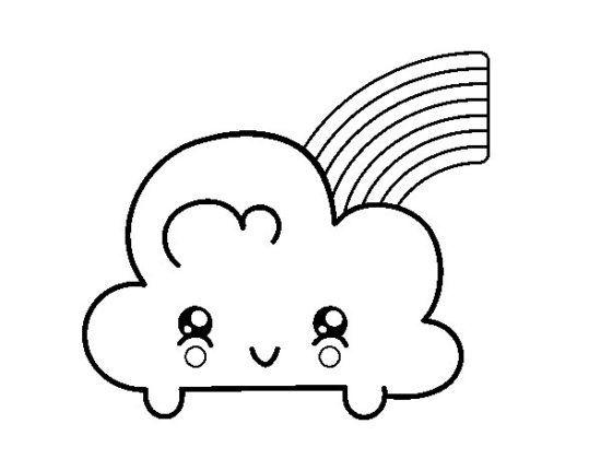 Dibujos Para Colorear Faciles Dibujos Kawaii Dibujos De Nubes