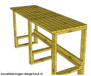 3D model voor een winkelbalie of bartafel van pallets.