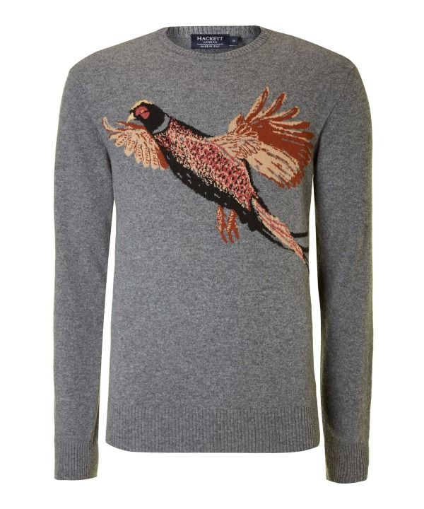 Men's Hackett Pheasant crew neck knit, Grey