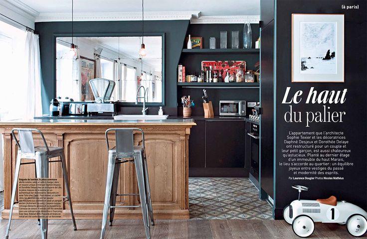 """Le mois de janvier ouvre la session des """"petits espaces"""" dans les magazines de décoration. J'ai retenu ce dernier reportage (paru dans le Marie-Claire Maison fév-mars 2015), un appartement situé, rue du Temple en plein cœur du Marais à Paris…"""