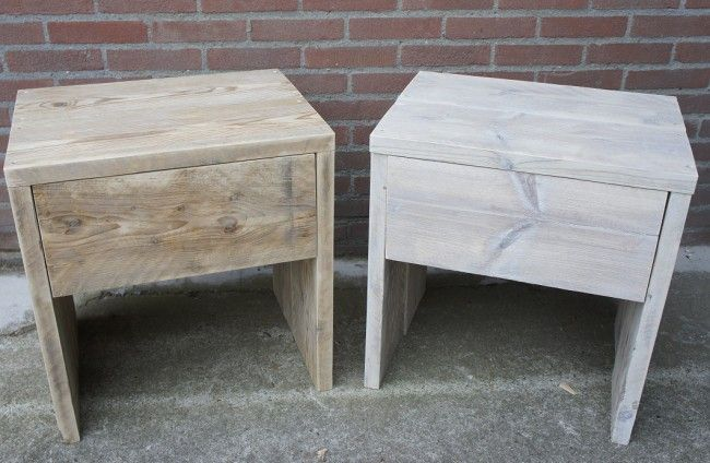 Steigerhout nachtkastje 'Luuks', steigerhout nachtkastje, nachtkastje steigerhout, steigerhouten nachtkastje by Livengo.nl