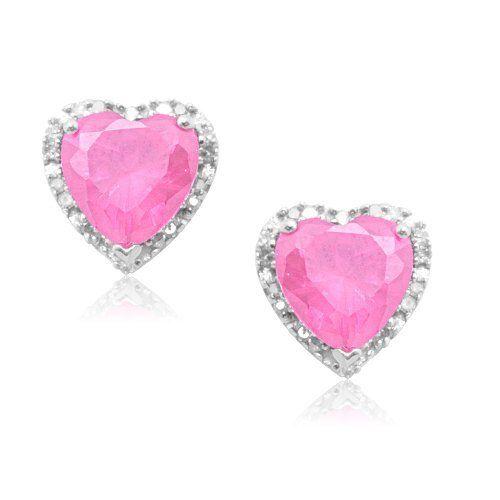 Pink Diamond Jewelry | ... Gold Heart-Shaped Created Pink Sapphire with Diamonds Heart Earrings