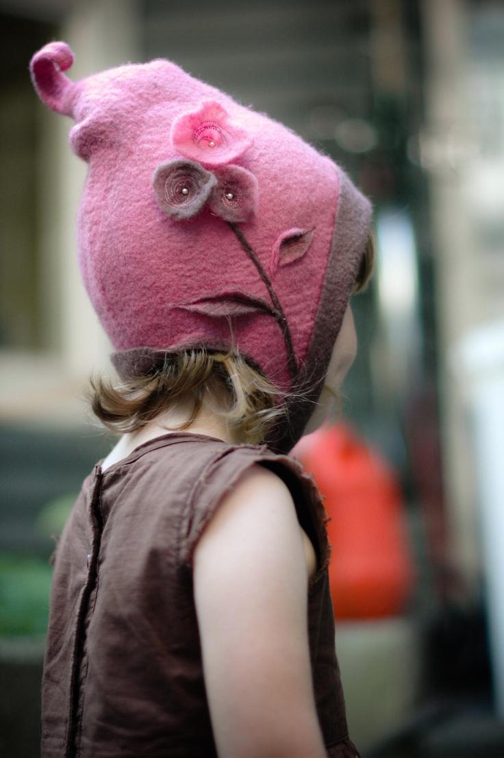girl's pink & brown merino felt whimsical pixie fairy hat, via Etsy.