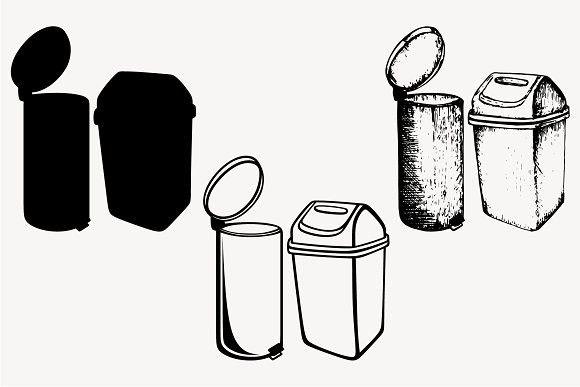 Trash Can Set Vector Svg Png Dxf Vector Svg Svg Trash Can