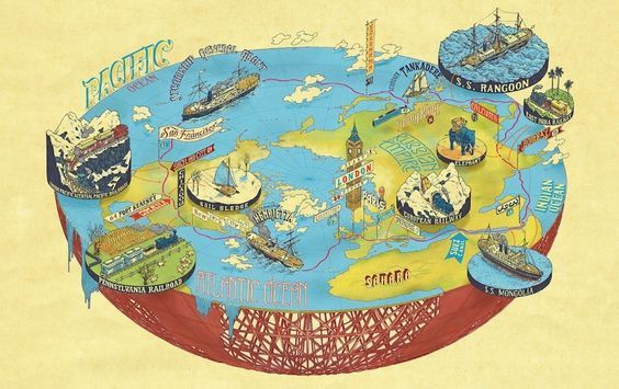 Around the World in 80 Days by Jules Verne   9 Awesome Literary Maps Every Book Lover Needs To See: