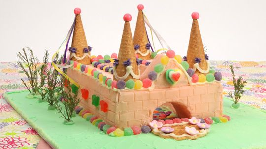 Fantasy Castle Birthday Cake - Recipes - Best Recipes Ever - Knights in shining armour of any age will love to call this castle their home. You can customize the cake to incorporate a child's favourite colours and special candies or chocolate for the decorations.