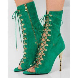 FSJ Strappy Stiletto Heel - Pencil heels Peep Toe High-Quality Beryl Green Ankle Strappy Boots for Party/ Date