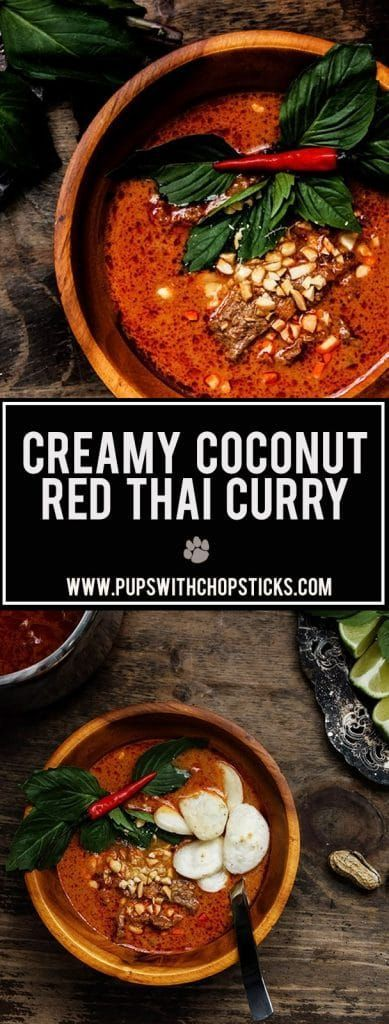 A warm and comforting creamy coconut red thai curry that's easy, versatile and quick to put together with many layers of flavours from the shrimp paste, coconut cream, kaffir lime leaves and condensed milk.