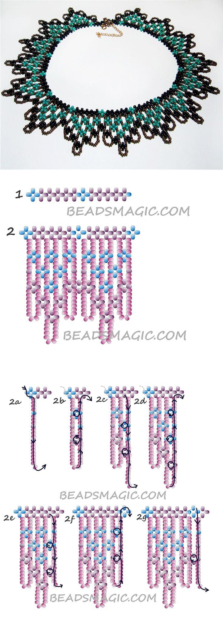 Free pattern for beaded necklace Cornflowers 2 szín 8/0-ás ebből készül az első sor, 11/0