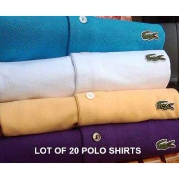 Polo Lacoste Sale, Cheap and Original, A Lot Of 20 Men Polo Shirt Short Sleeve, Mix Colors and Size