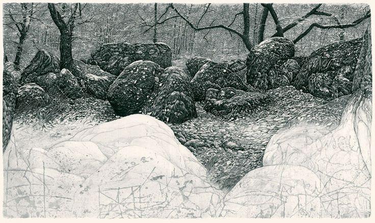 Livio Ceschin: Lento Cola dagli alberi il rame delle foglie, 2008, etching & drypoint, mm 600 x 900 (paper) mm 456 x 780 (copperplate), edition of 50