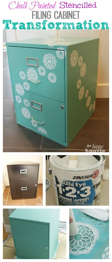 Turn a boring basic black box filing cabinet and transform it into a beautiful piece that you love - tutorial at The Happy Housie
