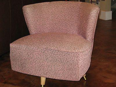 Vintage mid century 1950 s 50 s pink swivel slipper chair furiture